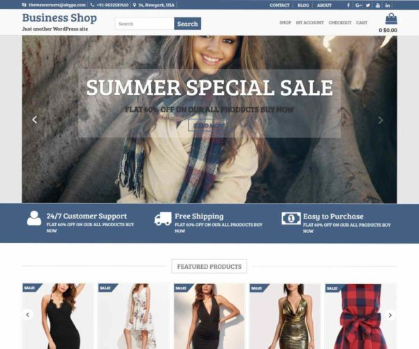 Business Shop Free Theme | eCommerce Theme | Themescorners Theme