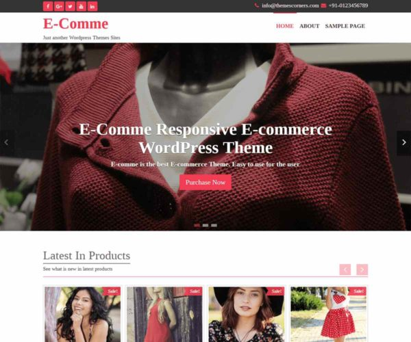 E-Comme Free Theme | eCommerce Wordpress Theme | Themescorners
