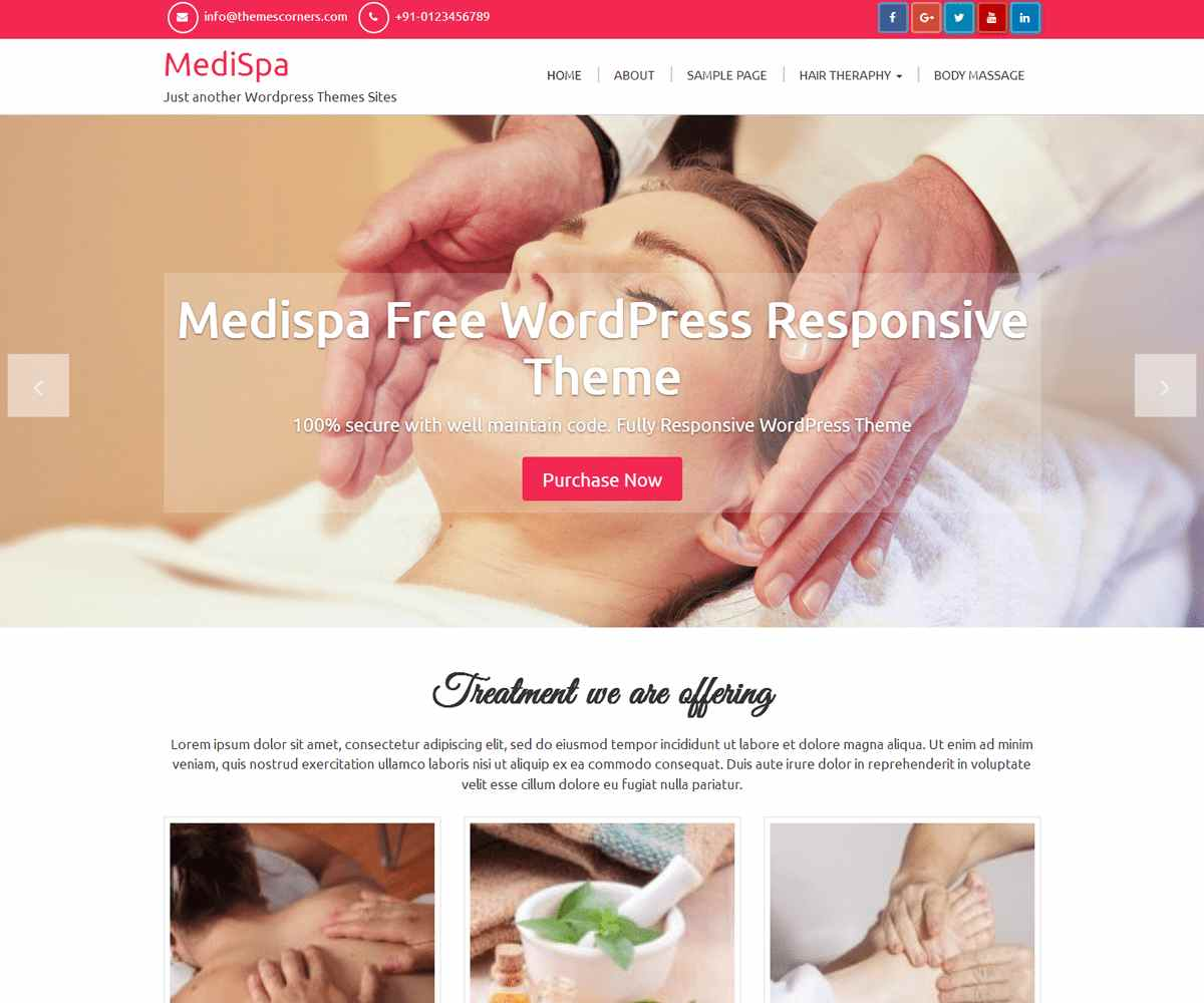 Medispa Free WordPress Theme - Themescorners Themes
