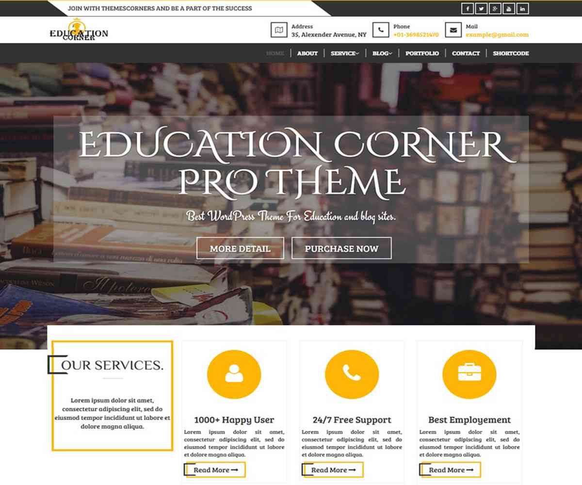 Education Corner Pro Theme - Themescorners Free and Pro Themes